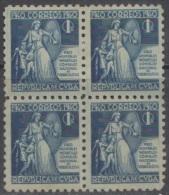 1940-120 CUBA. REPUBLICA. 1940. SOBRETASA BENEFICENCIA TUBERCULOSIS. Ed.3. BLOCK 4. GOMA ORIGINAL TROPICALIZADA. CHILDRE - Prefilatelia