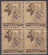 1941-120 CUBA. REPUBLICA. 1941. SOBRETASA BENEFICENCIA TUBERCULOSIS. Ed.4. BLOCK 4. GOMA ORIGINAL TROPICALIZADA. CHILDRE - Prefilatelia