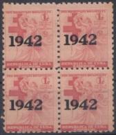 1942-120 CUBA. REPUBLICA. 1942. SOBRETASA BENEFICENCIA TUBERCULOSIS. Ed.6. BLOCK 4. GOMA ORIGINAL TROPICALIZADA. CHILDRE - Prefilatelia