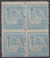 1949-100 CUBA. REPUBLICA. 1949. SOBRETASA BENEFICENCIA TUBERCULOSIS. Ed.9. BLOCK 4. GOMA ORIGINAL TROPICALIZADA. - Prefilatelia