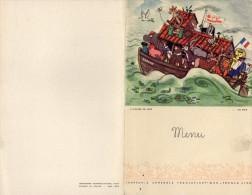 """MENU COMPAGNIE GENERALE TRANSATLANTIQUE Paquebot """"Ile De France""""   L'ARCHE DE NOE  En Mer 28 Juin 1958 - Menu"""