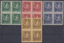 1951-131 CUBA. REPUBLICA. 1951. SOBRETASA BENEFICENCIA TUBERCULOSIS. Ed.12-15. BLOCK 4. GOMA ORIGINAL TROPICALIZADA. - Prefilatelia