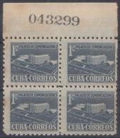 1952-121 CUBA. REPUBLICA. 1952. SOBRETASA BENEFICENCIA TUBERCULOSIS. Ed.16. BLOCK 4. GOMA ORIGINAL TROPICALIZADA. - Prefilatelia