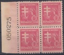 1953-120 CUBA. REPUBLICA. 1953. SOBRETASA BENEFICENCIA TUBERCULOSIS. Ed.21. BLOCK 4. GOMA ORIGINAL TROPICALIZADA. - Prefilatelia