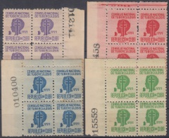 1954-110 CUBA. REPUBLICA. 1954. SOBRETASA BENEFICENCIA TUBERCULOSIS. Ed.22-25. BLOCK 4. GOMA ORIGINAL TROPICALIZADA. - Prefilatelia