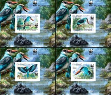 S. TOME & PRINCIPE 2014 - WWF Blue-breasted Kingfisher, 4 Deluxe Sheets - W.W.F.