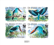 S. TOME & PRINCIPE 2014 - WWF Blue-breasted Kingfisher, Collective Deluxe Sheet - W.W.F.