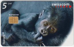 SWITZERLAND A-889 Chip Swisscom - Animal, Ape - used
