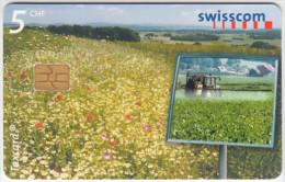 SWITZERLAND A-902 Chip Swisscom - Landscape, Flower meadow - used