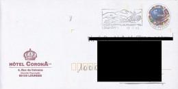 FRANCE. POSTMARK. LOURDES. WORLD CENTER OF PILGRIMAGE. 2000. ADVERTISING HOTE CORONA. FLAMME - Marcofilia (sobres)