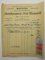 Facture Invoice Zagerij Polijsting Steenhouwerij Leon Vlaminck Lokeren 1939 - Belgique