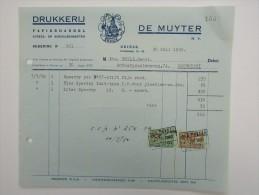 Facture Invoice Deinze Drukkerij Imprimerie Papierhandel De Muyter 1960 Speedry Pen Inkt - Belgique