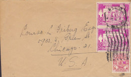 Burma Cover Brief To CHICAGO United States 2x 2/6' Reispflanzer & 9 P. Musikerin Stamps - Myanmar (Burma 1948-...)