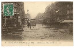 S2864 -87- Inondations De Paris (janvier 1910) - Hôtel Terminus Et Rue Saint-Lazare - Inondations