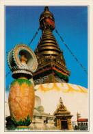 NEPAL  SWAYAMBHUNATH:  IL GRANDE STUPA   (NUOVA CON DESCRIZIONE DEL SITO SUL RETRO) - Nepal