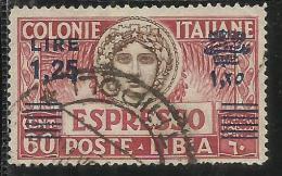 LIBIA 1936 ESPRESSO SPECIAL DELIVERY LIRE 1,25 SU 60 CENT.  DENT. PERF 14 USATO USED OBLITERE´ - Libya