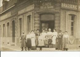 59-TRITH LE POIRIER CARTE PHOTO BRASSERIE LECLERCQ CAFE DE LA GARE ANIME - Other Municipalities