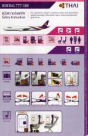CONSIGNES DE SECURITE / SAFETY CARD    BOEING 777-300  Thai - Scheda Di Sicurezza