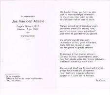 ZINGEM - EDELARE - Doodsprentje Van Jos VAN Den ABEELE - KUNSTSCHILDER  + 1991 - Religion & Esotérisme