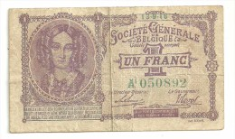 Belgium 1 Franc Societe Generale Belgique 13/9/1916 - [ 3] Ocupaciones Alemanas En Bélgica