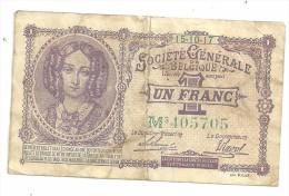 Belgium 1 Franc Societe Generale Belgique 15/10/1917 - [ 3] Occupazioni Tedesche Del Belgio
