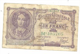 Belgium 1 Franc Societe Generale Belgique 15/10/1917 - [ 3] Ocupaciones Alemanas En Bélgica