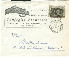 FUCILI DA CACCIA, FABBRICA, TANFOGLIO, GARDONE V.T., BRESCIA, BUSTA COMMERCIALE VIAGGIATA 1966,POSTE GARDONE VAL TROMPIA - Tiro (armi)