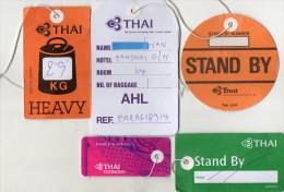 ETIQUETTES A BAGAGES  THAI  Stand By/Heavy/Remarks Papier (lot De 5) - Étiquettes à Bagages