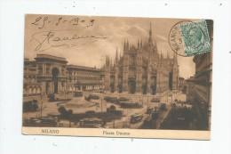 Cp , ITALIE , MILANO , Piazza DUOMO , Voyagée 1909 , Ed : Grassi - Milano