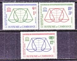 CAMBODIA   126-8  *   UNESCO HUMAN RIGHTS - Cambodia