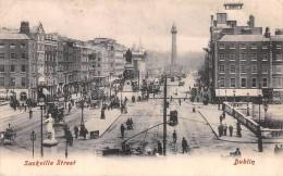 "01451 ""DUBLIN - SACKVILLE STREET""  ANIMATA, CARROZZE CON CAVALLO, TRAMWAY. CART. POST. SPEDITA INIZI 1900 - Dublin"