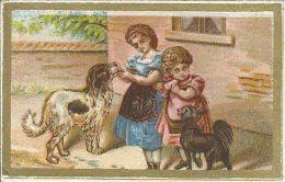 CHROMO , Petites Filles Avec Leurs Chiens - Chromos