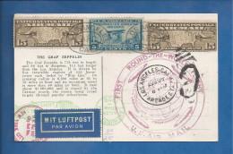Carte Postale Des USA De 1929 - YT N° 280 Et PA 8 X 2  - Lindbergh - Graf Zeppelin - LZ 127 - Hugo Eckener - Zeppelins