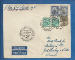 Lettre Du Brésil De 1935 Pour L´ Allemagne - Graf Zeppelin - Oblitération De Sao Paulo - Zeppelins