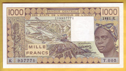BANQUE DE L´ AFRIQUE DE L´OUEST - Sénégal - Billet De 1000 Francs. 1981 - Sénégal