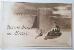 Litho Illustrateur FLANDRIN Scene Charmeur De Serpent Devant Murail Bonjour DE Souvenir Bonne Année Du Maroc Ecrite 1934 - Souvenir De...