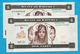 ERITREA LOT 2x 1 Nakfa 24.05.1997  Série AN  No Consécutif  P#1  UNC - Erythrée