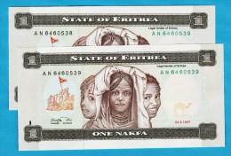 ERITREA LOT 2 X 1 Nakfa 24.05.1997  # AN6460538+539  P#1 - Eritrea