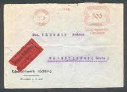 Lettre De Völklingen Pressée Ou Recommandée  ( SAAR ) Röchlingwerke Pour Peugeot France Valentigney  25 11 34 - Covers & Documents