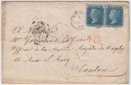 24881  LONDON SW 4 JU 5 60 Pair Of 2d Blue To Toulon France On Entire, Circled PD In Red - 1840-1901 (Victoria)
