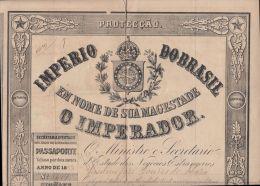 22972 Imperio Do BRAZIL PASSAPORTE PASSPORT 1843 Consulat De France Rio De Janeiro Transit Paris Havre Vannes - Planches & Plans Techniques