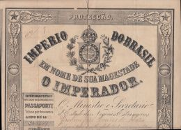22972 Imperio Do BRAZIL PASSAPORTE PASSPORT 1843 Consulat De France Rio De Janeiro Transit Paris Havre Vannes - Technische Plannen
