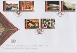 United Nations Cancellations Vienna, Geneva And NY - 2013 - FDC World Heritage - Imperial Palace Beijing - Mogao Caves - Gezamelijke Uitgaven New York/Genève/Wenen