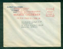 Enveloppe Commerciale Avec Publicité RADIO LUXEMBOURG KLEBER COLOMBES Affranchie Machine 005f - Publicités