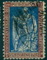 REGNO  1928 EMANUELE FILIBERTO C.20 BRUNO E OLTREMARE  USATO - 1900-44 Vittorio Emanuele III