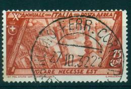 REGNO 1932 MARCIA SU ROMA P.A. 75 C. BRUNO ROSSO USATO - 1900-44 Vittorio Emanuele III
