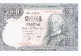 SPAIN 1976 REPLICA - REPRODUCTION -CARLOS III - MUSEO PRADO MADRID - PAPER BILL 5000 PESETAS ISSUED FEB 6,1976  - PERFEC - [ 8] Falsi & Saggi