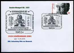 34549) BRD - SoST-Brief 06/055 - 39524 SCHÖNHAUSEN (ELBE) Vom 1104.2015 - 62C Otto Von Bismarck - Marcofilia - EMA ( Maquina De Huellas A Franquear)