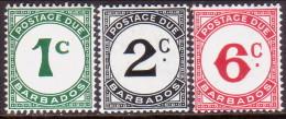 BARBADOS 1951-53 SG #D4a-D6a Compl.set MNH OG Chalk-sutrfaced Paper Postage Dues - Barbados (...-1966)