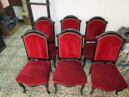 Conjunto de 6 Sillas, 2 Sillones y 1 Sof� 3 plazas  Luis XV tapizado en rojo